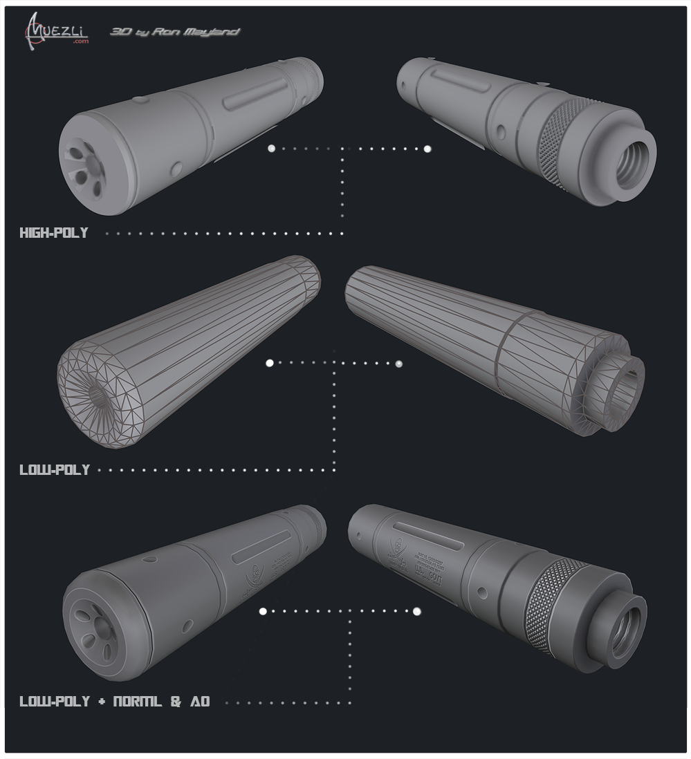 Walther pkk Silencer Texture map bake by Ron Mayland
